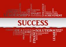 Il concetto di successo di affari ha collegato le parole in nuvola dell'etichetta Fotografie Stock