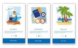 Il concetto di un'applicazione mobile turistica illustrazione di stock