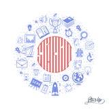 Il concetto di una partenza Iscrizione nel cerchio dei temi di affari delle icone - scarabocchii lo stile lineare Fotografia Stock