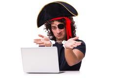 Il concetto digitale di sicurezza con il pirata isolato su bianco Immagini Stock