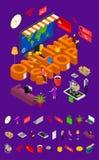Il concetto e gli elementi online del negozio parte la vista isometrica 3d Vettore royalty illustrazione gratis
