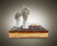 Il concetto ecologicamente dei problemi le centrali elettriche termiche Immagine Stock