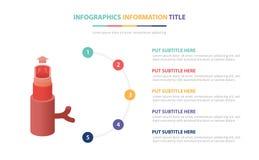 Il concetto infographic del modello della vena umana con cinque punti elenca e vario colore con fondo bianco moderno pulito - illustrazione vettoriale