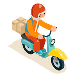 Il concetto isometrico dell'icona di Scooter Symbol Box del corriere della consegna 3d ha isolato l'illustrazione piana di vettor Immagini Stock Libere da Diritti