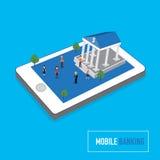 Il concetto mobile di attività bancarie con la micro gente sullo Smart Phone tocca lo Sc Fotografie Stock