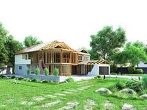 Il concetto moderno dei lavori di costruzione la casa è montato dalla p Fotografia Stock Libera da Diritti