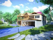 Il concetto moderno dei lavori di costruzione la casa è montato dalla p Fotografie Stock Libere da Diritti