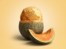 il concetto moderno della palla del gelato del melone della crema A del gelato alla frutta si trova sopra Immagine Stock Libera da Diritti