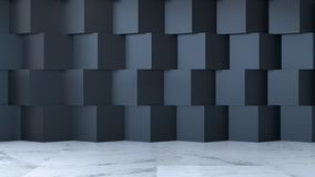 Il concetto moderno di interior design della stanza, la stanza vuota, il pavimento di marmo e la parete del quadrato nero, 3d ren Immagini Stock Libere da Diritti