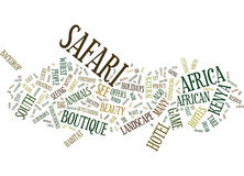 Il concetto perfetto di Safari Text Background Word Cloud dell'Africano Fotografia Stock