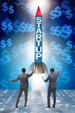 Il concetto start-up con il razzo e l'uomo d'affari Immagine Stock Libera da Diritti