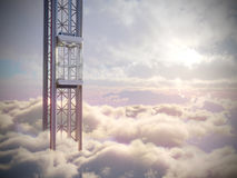 Il concetto vuoto dell'elevatore del cielo sul cielo si appanna la composizione in concetto del fondo Immagine Stock Libera da Diritti