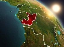 Il Congo da spazio durante l'alba Immagini Stock Libere da Diritti