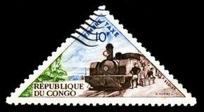 Il Congo mostra la locomotiva a vapore, serie del trasporto, circa 1961 Fotografia Stock Libera da Diritti