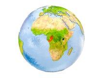 Il Congo sul globo isolato Fotografia Stock
