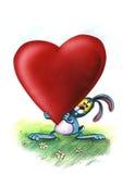 Il coniglietto blu di amore porta il cuore illustrazione di stock