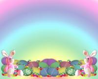 Il coniglietto del bordo di Pasqua eggs la caramella Fotografie Stock Libere da Diritti