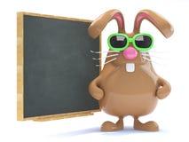 il coniglietto di 3d pasqua insegna alla classe Immagini Stock