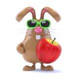 il coniglietto di 3d pasqua mangia una mela Fotografia Stock Libera da Diritti