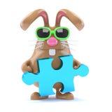 il coniglietto di 3d pasqua risolve il puzzle Fotografia Stock