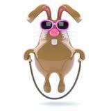 il coniglietto di 3d pasqua salta felicemente Fotografia Stock Libera da Diritti
