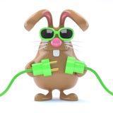 il coniglietto di 3d pasqua va verde Fotografia Stock
