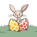 Coniglietto con due uova di Pasqua Fotografia Stock Libera da Diritti