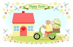 Il coniglietto di pasqua consegna il grande uovo di Pasqua Fotografie Stock Libere da Diritti