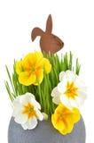 Coniglietto di pasqua e fiore della molla Fotografia Stock