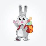 Il coniglietto di pasqua porta le uova colorate Illustrazione di vettore Fotografie Stock