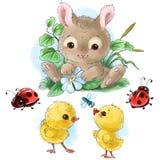 Il coniglietto felice con il fumetto delle uova di Pasqua, dei pulcini e degli insetti ha isolato il clipart su fondo bianco illustrazione vettoriale