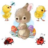 Il coniglietto felice con il fumetto delle uova di Pasqua, dei pulcini e degli insetti ha isolato il clipart su fondo bianco royalty illustrazione gratis
