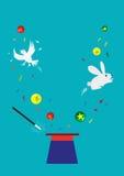 Il coniglietto, la colomba e le palle compaiono da un cappello vuoto Concetto magico Clipart editabile Immagine Stock