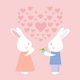 Il coniglietto sveglio dà i fiori, carta di amore Immagini Stock Libere da Diritti