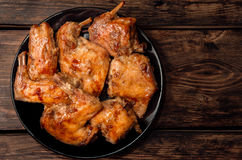 Il coniglio al forno in un forno in salsa rossa Immagini Stock Libere da Diritti