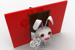 il coniglio 3d con rosso avvolge accanto e @ concetto disponibile del segno del email Fotografia Stock Libera da Diritti