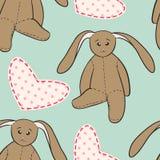Il coniglio del disegno della mano gioca il modello senza cuciture puerile Immagine Stock Libera da Diritti
