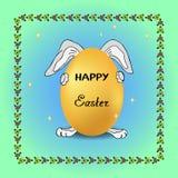 Il coniglio divertente sul fondo delle stelle tiene l'uovo festivo in vacanza, struttura per decorare le cartoline d'auguri in on illustrazione vettoriale