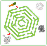 Il coniglio o la lepre deve andare alla carota e non cadere nella frizione Immagine Stock