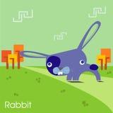 Il coniglio porpora di pasqua Vettore di concetto del coniglietto di pasqua Fotografie Stock