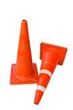 Il cono di plastica arancione su priorità bassa bianca Fotografie Stock Libere da Diritti