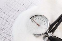 Il consumo del sale può aumentare la pressione sanguigna, mucchio di sale, calibro di pressione sanguigna sull'annotazione del ec Fotografia Stock Libera da Diritti