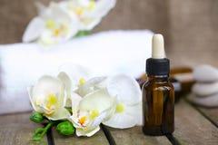 Il contagoccia imbottiglia l'olio essenziale dell'orchidea pura closeup Immagini Stock