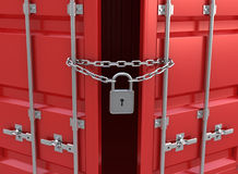 Il container rosso è chiuso sulla serratura Fotografie Stock Libere da Diritti