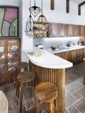 Il contatore della barra nello stile del sottotetto della cucina Fotografie Stock