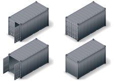 Il contenitore di carico isometrico ha messo 2 illustrazione di stock