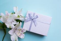 Il contenitore di regalo bianco con alstroemeria fiorisce su backgroun blu-chiaro Fotografia Stock