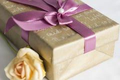 Il contenitore di regalo con è aumentato Fotografia Stock