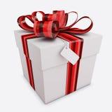 Il contenitore di regalo con l'arco & la modifica ha isolato Immagine Stock