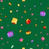 Il contenitore di regalo senza cuciture del modello per la festa presenta con i nastri e gli archi, il fondo dei regali di Natale illustrazione di stock